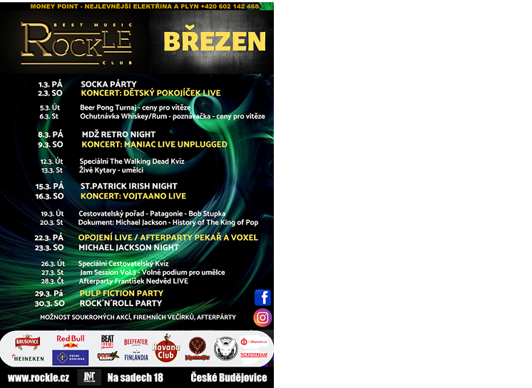 Rockle Music Club - kulturní program březen 2019